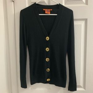 Tory Burch Black Cardigan with Gold Logo Buttons